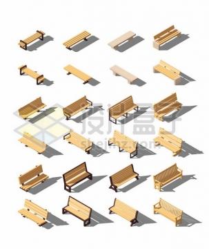二十四款各式的3D风格公园木制长椅长凳490871图片免抠矢量素材