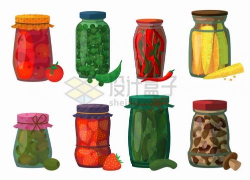 酱黄瓜酱番茄辣椒酱等美味泡菜蔬菜水果酱png图片素材