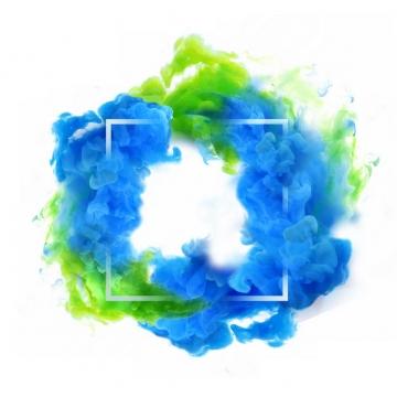 抽象蓝绿色烟雾环绕的方形边框文本框信息框标题框947927png图片免抠素材