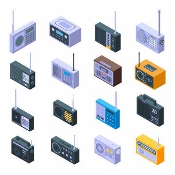 16款2.5D风格复古收音机png图片免抠矢量素材