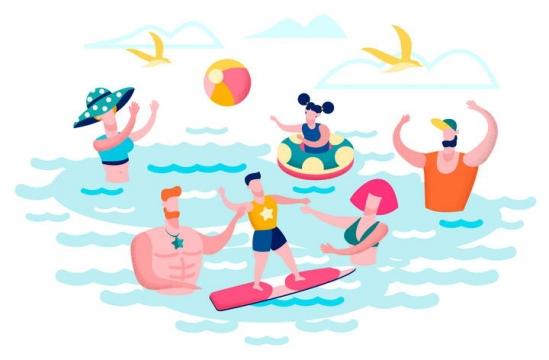 扁平插画风格正在游泳夏日旅游图片免抠素材