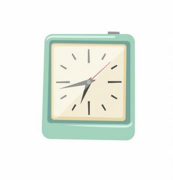 绿色方形卡通闹钟挂钟时钟时间png图片免抠矢量素材