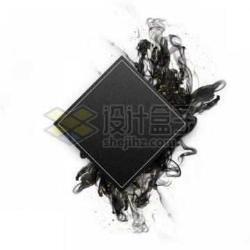 墨水烟雾水墨装饰的黑色菱形边框文本框标题框信息框177849psd/png图片素材