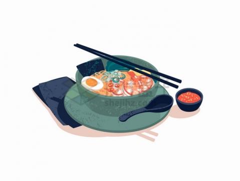 一碗美味的虾仁拉面加鸡蛋的面条美食png图片素材