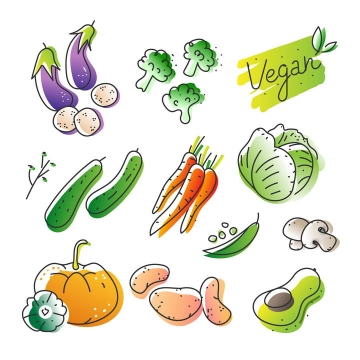 10种手绘风格蔬菜茄子西蓝花黄瓜胡萝卜等图片免抠矢量图