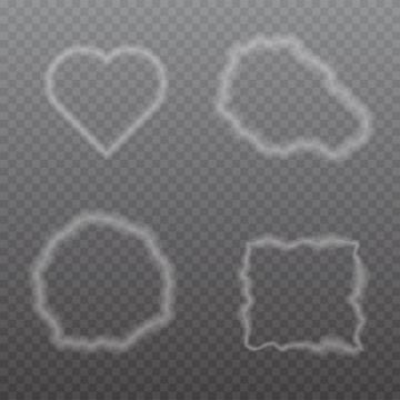 4款淡淡的烟雾组成的形状图片免抠矢量素材