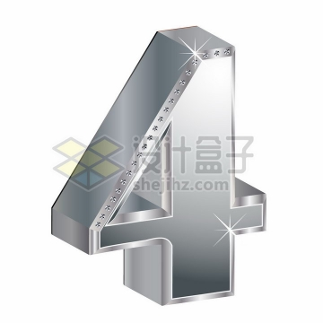 3D金属银色镶钻立体数字4png图片素材