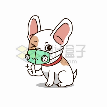 戴口罩竖大拇指的卡通狗狗png图片免抠矢量素材