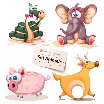 卡通青蛇大象小猪和小鹿小动物png图片免抠素材