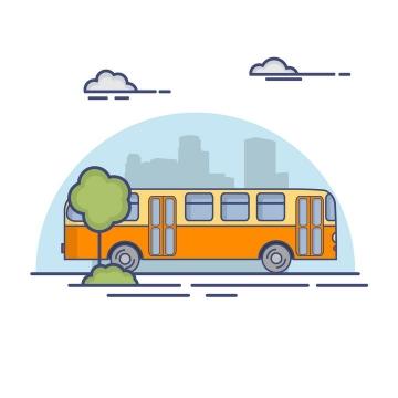 MBE风格公交汽车图片免抠矢量图素材