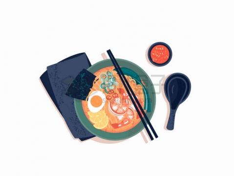 俯视视角的美味的虾仁拉面加鸡蛋的面条美食png图片素材