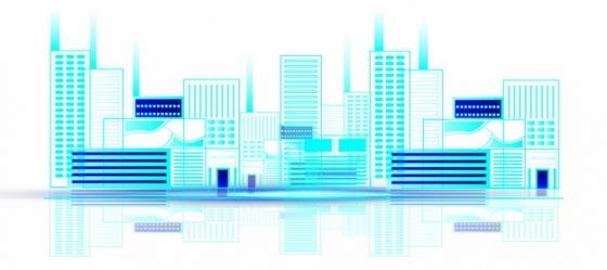 蓝色线条城市地平线建筑189613png矢量图片素材
