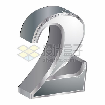 3D金属银色镶钻立体数字2png图片素材