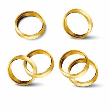 4款简约风格的结婚黄金戒指png图片免抠矢量素材