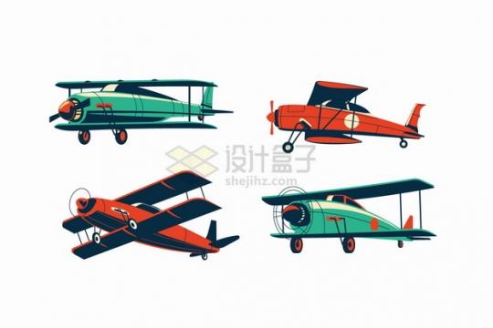 4款双翼机复古飞机彩绘插画png图片素材