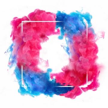 抽象红蓝色烟雾环绕的正方形边框文本框信息框标题框855215png图片免抠素材