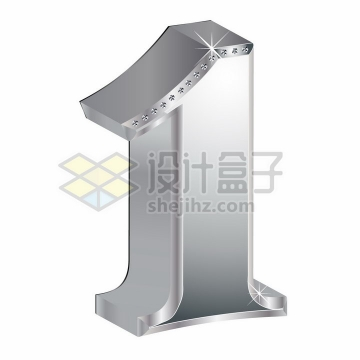 3D金属银色镶钻立体数字1png图片素材