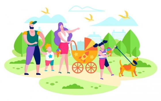 扁平插画风格正在散步遛狗的一家四口郊游旅游图片免抠素材