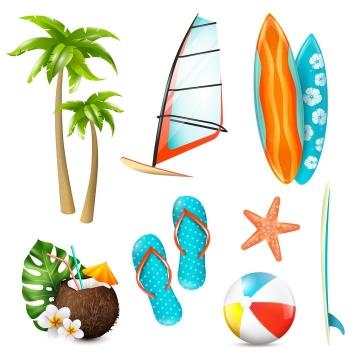 椰子树帆船帆板椰子拖鞋海星等热带海岛旅游图片免抠素材