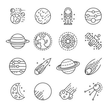 16款点线风格星球和宇宙探索图标图片免抠素材