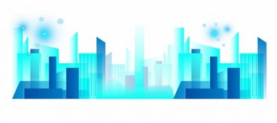蓝色色块城市地平线建筑246771png矢量图片素材