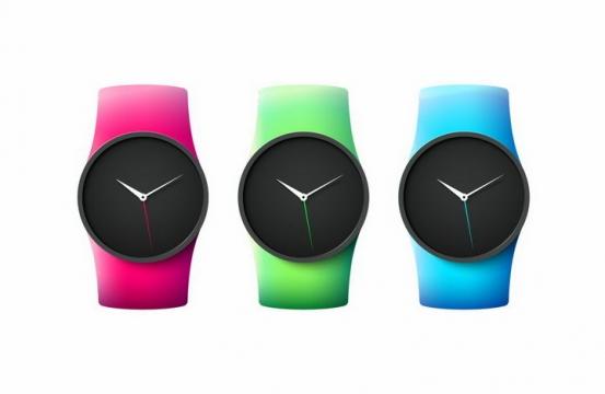 3款彩色硅胶表带的智能手表png图片免抠矢量素材