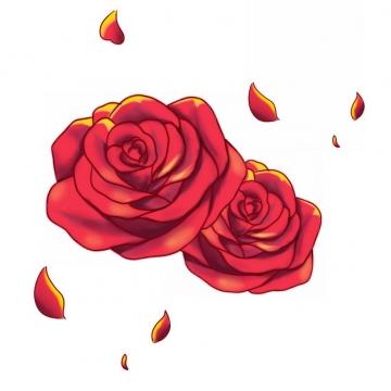 两朵红色玫瑰花手绘花瓣562919png图片素材