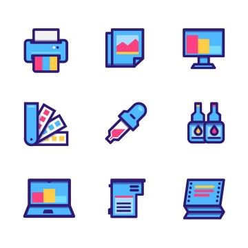 9款打印机色卡计算机墨盒图标免抠矢量图片素材