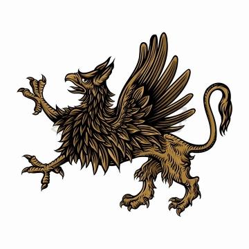 手绘狮鹫插画png图片免抠矢量素材