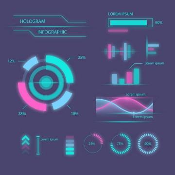 绚丽未来科技风格发光圆环曲线图图表图片免抠素材