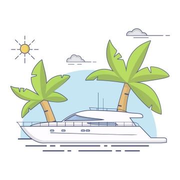 MBE风格游艇海岛旅游图片免抠矢量图素材