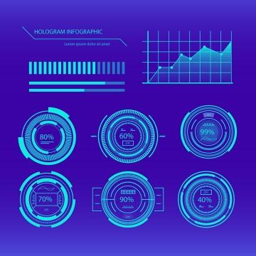 蓝色未来科技风格发光圆环折线图图表图片免抠素材
