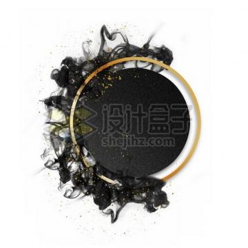 墨水烟雾水墨装饰的圆形金色边框文本框标题框信息框335592psd/png图片素材