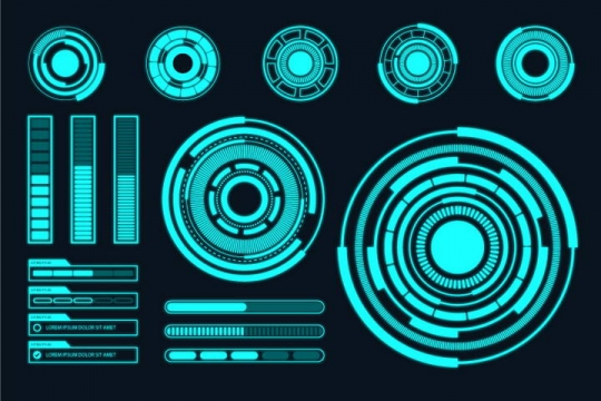 蓝色未来科技风格发光圆环比例图图表图片免抠素材