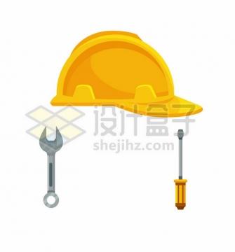 黄色的安全帽头盔扳手和螺丝刀五一劳动节png图片免抠矢量素材
