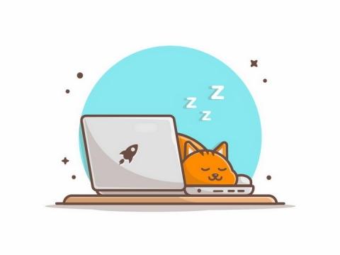 MBE风格趴在笔记本电脑上睡觉的猫咪橘猫png图片免抠矢量素材