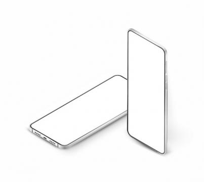 两款银白色全面屏手机显示样机168436png图片素材