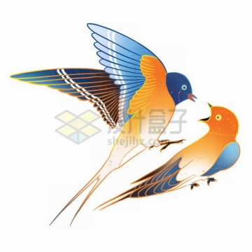 两只嬉戏玩耍的燕子雨燕彩绘插画png免抠图片素材