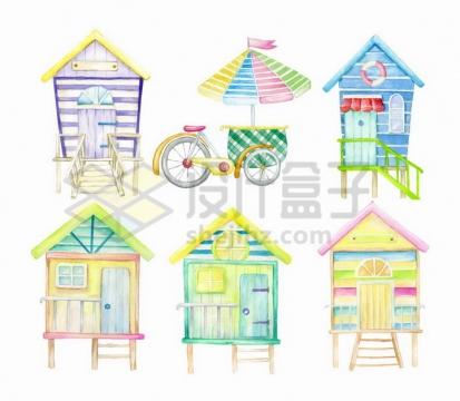 彩绘儿童画风格房子自行车png图片免抠矢量素材