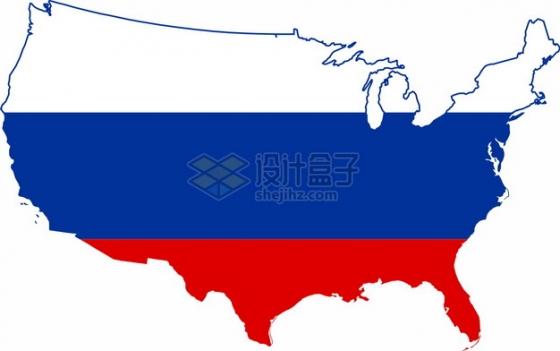 印有俄罗斯国旗图案的美国地图png图片素材