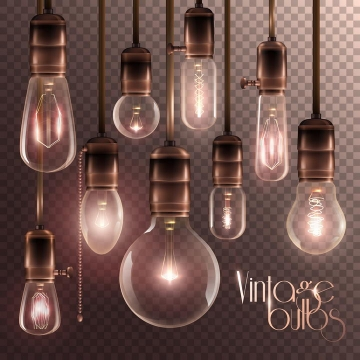 各种复古风格的白炽电灯泡图片免抠素材