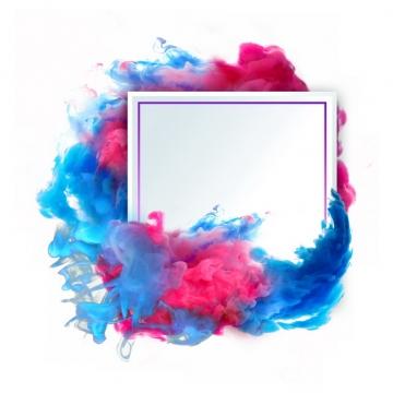 抽象红蓝色烟雾环绕的正方形边框文本框信息框标题框540017png图片免抠素材