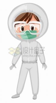 佩戴口罩和防护镜身穿防护服的医疗人员医生png图片免抠矢量素材