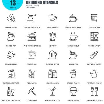 手绘线条风格咖啡等饮料icon图标图片免抠素材合集