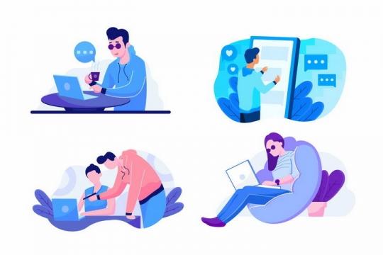 4款扁平插画风格使用笔记本电脑和手机的年轻人png图片免抠矢量素材