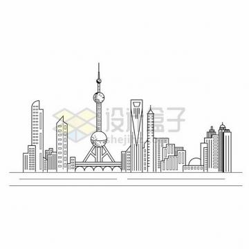 上海陆家嘴东方明珠电视塔城市天际线线条插画578893png图片素材