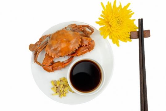 一盘清蒸大闸蟹螃蟹和醋579039png图片免抠素材