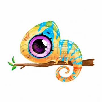 超可爱大眼睛彩色卡通变色龙650305png图片素材