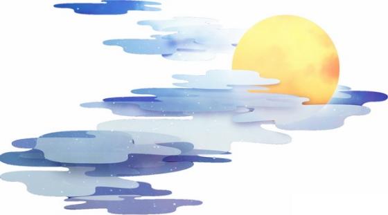 黄色的月亮和蓝紫色的祥云中国风插画318274png图片素材
