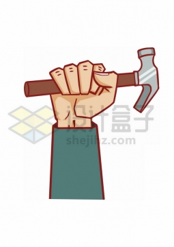 卡通拿着榔头锤子的拳头手绘插画png图片素材